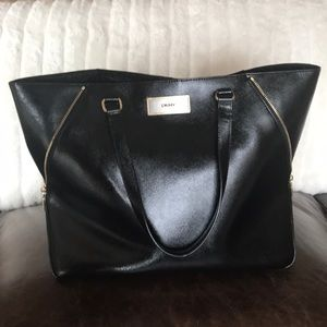 DKNY Black Tote with Zipper Detail